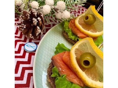 Круглые бутерброды с Атлантическим Лососем