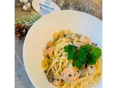 Спагетти с Форелью и грибами в сливочно-сырном соусе